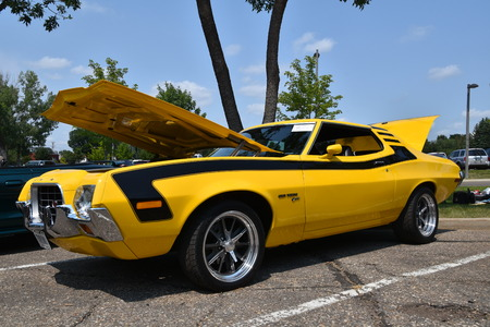 MOORHEAD, MINNESOTA,: The annual August Veterans of Foreign Wars (VFW) car show in Moorhead features a restored 1972 Ford Gran Torino car.
