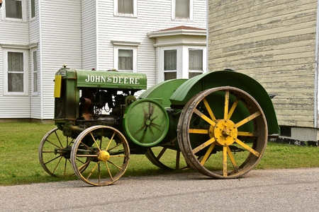 BONANZAVILLE, NORTH DAKOTA, August 17, 2018: A  restored antique  John Deere  D tractor is displayed during Pioneer Days held every August