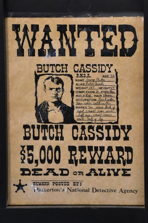 BONANZAVILLE, NORTH DAKOTA, August 17, 2018: A Butch Cassidy wanted poster is displayed in the old jail building during Pioneer Days held each August at Bonanzaville.