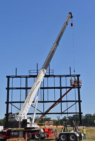 MOORHEAD, MINNESOTA, August 20, 2018: Concordia Colleges Jake Christiansen Stadium. has a new scoreboard being installed
