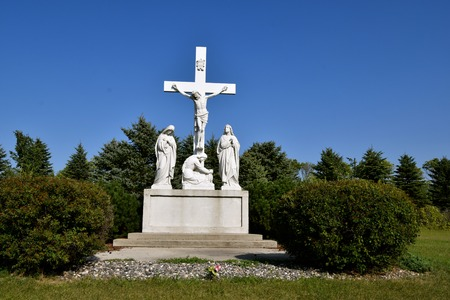 SANBORN, NORTH DAKOTA: The sculpture of the crucifixion of Jesus Christ is located and operated by the Sanborn Sacred Heart Cemetery Association. Stock Photo