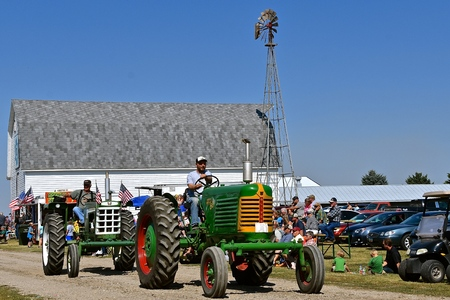 PEKIN, NORTH DAKOTA, September 2, 2018:  The old Oliver tractors are  participating in a parade during the  Labor Day Stump Lake Village Threshing Bee. Editöryel