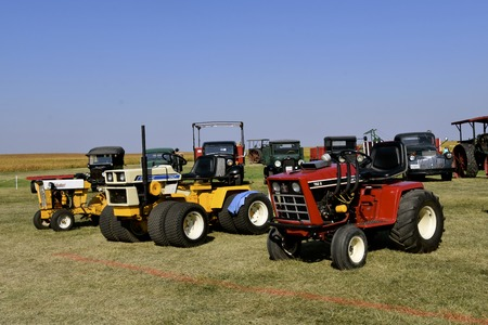 PEKIN, NORTH DAKOTA, September 2, 2018: A customized 7828  IH Cub Cadet and several others are displayed is available for public display during the Labor Day Stump Lake Village Threshing Bee.