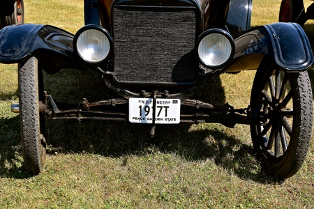 PEKIN, NORTH DAKOTA, September 2, 2018: An old restored 1917 Model T Ford car is displayed at the annual Stump Lake Village threshing show on Labor Day weekend.