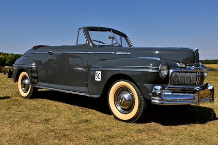 PEKIN, NORTH DAKOTA, September 2, 2018: An old restored 1946 Mercury convertible auto is ready for participation in a parade during the Labor Day Stump Lake Village Threshing Bee.