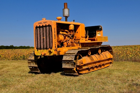 PEKIN, NORTH DAKOTA, September 2, 2018: Founded in 1925, the old Cat  Forty Diesel Caterpillar was used in road construction , a product of Caterpillar Inc., an American corporation which designs, develops, engineers, manufactures, markets and sells machi