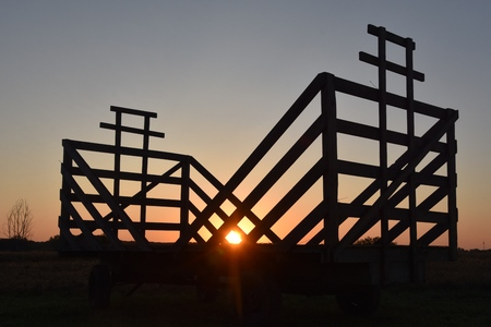 A rack for collecting grain bundles  during threshing harvest time is silhouetted in the early morning sunrise