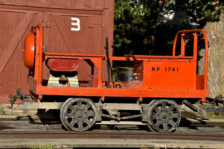 ROLLAG, MINNESOTA, September, 1, 2018: Old railroad motor cart  used by the Northern Pacific railways used for maintenance of tracks is displayed at the Rollag Threshing Reunion held annually on Labor Day weekend.
