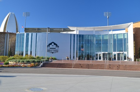 CANTON, OHIO, October 8, 2013: The entrance to the National Football Hall of Fame in Canton, Ohio where NFL players are inducted.