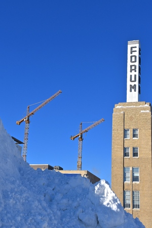 FARGO, NORTH DAKOTA, February 7, 2019: The building tower is the headquarters of The Forum of Fargo-Moorhead, a daily newspaper printed in Fargo, North Dakota. and is the the flagship of Forum Communications. Redakční