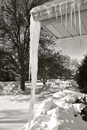 A huge icicle hangs from an eavestrough of a home. (black and white)