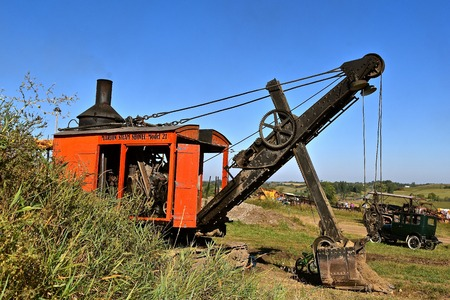 ROLLAG, MINNESOTA, September 2, 2018: The old Marion steam shovel demonstrates surface mining and excavating at the WCSTR farm threshers reunion in Rollag held each labor Day weekend where thousands attend. Editorial