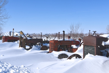 A row old tractors at a salvage and junkyard are partially buried after a snowstorm. Stock Photo