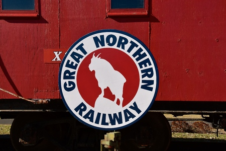 ST. CLOUD, MINNESOTA, April 19, 2019: The Great Northern Railway was a creation of James J. Hill, which ran a train from St.Paul MN to Seattle WA with a mountain goat as a logo.
