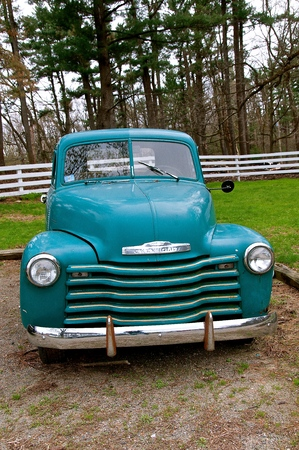 ROWLEY, MASSACHUSETTS, April 29, 2019:  The old pickup from the late 40s-early 50s is a Chevrolet colloquially referred to as Chevy and formally the Chevrolet Division of General Motors Company, is an American automobile division of the American manufac
