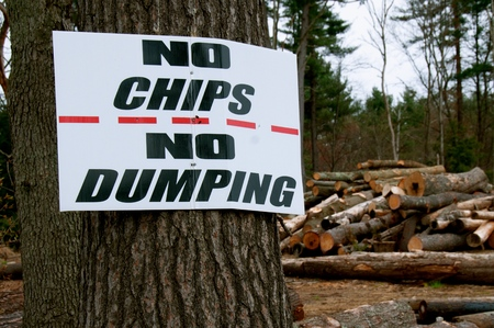 Sign posted on a tree by a sawmill NO CHIPS NO DUMPING 写真素材
