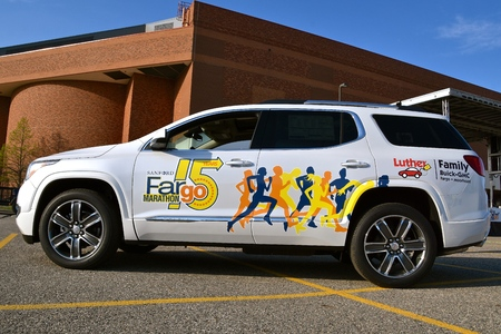 FARGO, NORTH DAKOTA-May 13, 2019 :  The GMC Pace Car is displayed at the annual Sanford Fargo Marathon which includes a cyclothon, dog race, youth, 5K, 10K, half, and full runs.