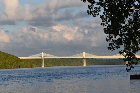 A distant scene of the St. Croix Crossing, an   etxradosed bridge which connects Wisconsin to Minnesota.