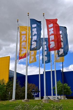 BLOOMINGTON, MINNESOTA, May 24, 2019: The IKEA flags represent the company formed in 1943 (Swedish based) is a nmultinational group twhich designs , market, and sells ready-to-assemble furniture and home products Editöryel