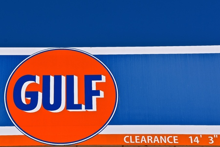 STILLWATER, MINNESOTA, May 24, 2019:  The Gulf Oil sign represent s a major American oil company formed when Cumberland Farms acquired the naming rights to the Gulf Oil brand from Chevron in 1986. Editöryel