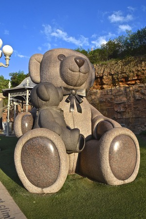 STILLWATER, MINNESOTA, May 24, 2019:  The rock sculptor is a Teddy Bear found in Teddy Bear Park, operated by the Stillwater Park District. Editöryel