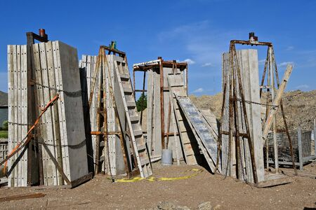 Forms are  ready to be at basement level needed to create a foundation for a new house.