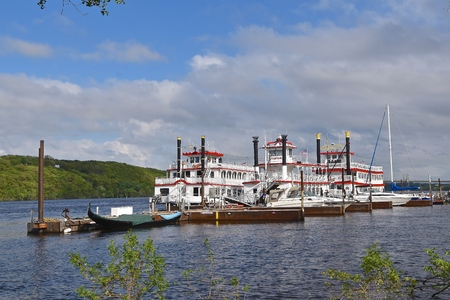STILLWATER, MINNESOTA, May 24, 2019: The Anastasia and Avalon, large paddleboat  and riverboats in the Midwest are operated by St. Croix River and Packet Co.
