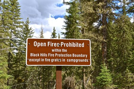 Sign indicating wherefores are not allowed within the Black Hills Fire Protection Boundary of South Dakota