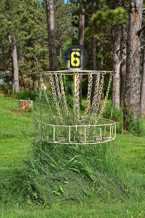 A shot of the 6th hole of a disc golf course with uncut cut grass under the basket Reklamní fotografie