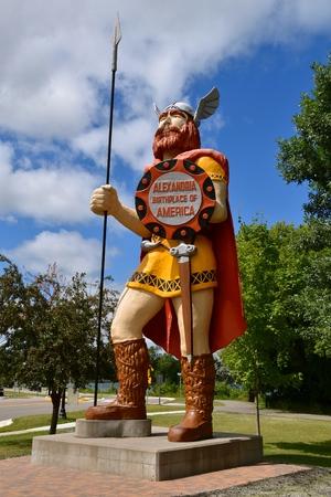 ALEXANDRIA, MINNESOTA, July 28, 2019: Big Ole, a Norseman, sculpted from fiberglass by Gordon Schumaker is found in Central Park In Alexandria, Minnesota.