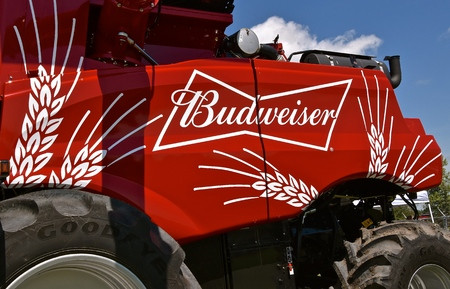 MOORHEAD, MINNESOtA, July 10, 2019: Anheuser-Busch (Budweiser) sponsored Grower Days honoring farming who grow barley for the malting process which included displaying farm equipment with the company logo.