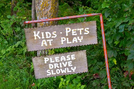 Wood carved signs urging motorists to drive slowly due to children and pets playing.