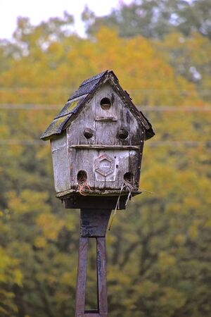 An old weathered multihued birdhouse with a shingle roof is attached to a metal pole. Imagens