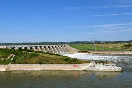 A view of Gavins Point Dam on the Missouri River near Yankton, South Dakota