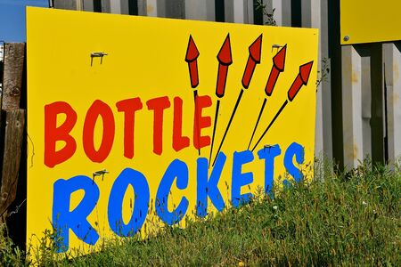 A colorful sign advertises bottle rockets