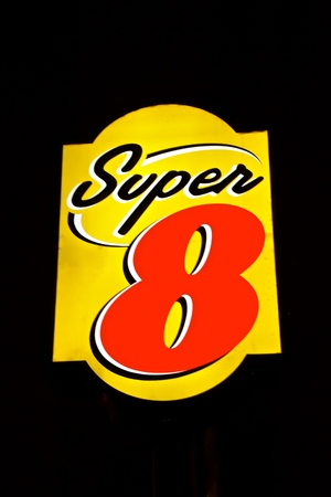 BEMIDJI, MINNESOTA, October 12, 2019: The sign with a Super 8 logo is the worlds largest motel chain, a subsidiary of Wyndham Worldwide.