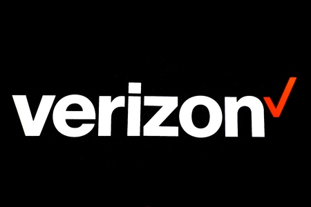 BEMIDJI, MINNESOTA, October 12: The logo represents Verizon Wireless, an American telecommunications company which offers wireless products and services created in 2000 through mergers.