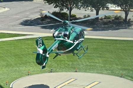 YANKTON, SOUTH DAKOTA, August 19, 2019: The arriving Avera helicopter belongs to Avera Health, a regional health system based in Sioux Falls, S.D., comprising more than 300 locations of the Midwest.