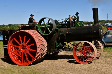 ROLLAG, MINNESOTA, August 30, 2019: The worlds largest steam engine, the Case 150, is displayed at the annual WCSTR farm threshers reunion in Rollag held each labor Day weekend where thousands attend.