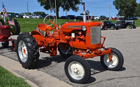 YANKTON, SOUTH DAKOTA, August 19, 2106: The restored  orange Allis Chalmers CA tractor is displayed at the annual Riverboat Days Agricultural Show celebrated the third weekend of August in Yankton. Editorial