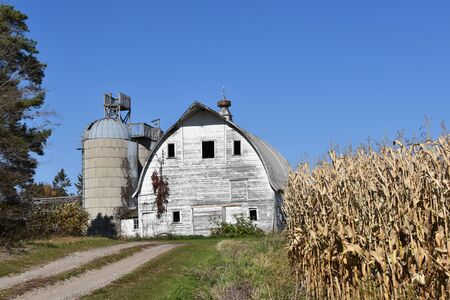 A cornfield runs parallel to the driveway leading to an old barn and silo with a lookout deck.