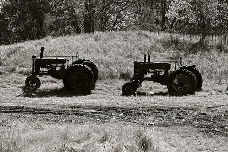 Several old tractor silhouetted in a meadow brings back past farm memories. (black and white)