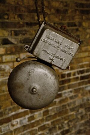 FARGO, NORTH DAKOTA, February 18, 2020: The old fire alarm in a basement warehouse was a product of General Fire Extinguisher Co , Providence, Rhode Island, pst in 1892 by Frederich Grinnell. 新聞圖片