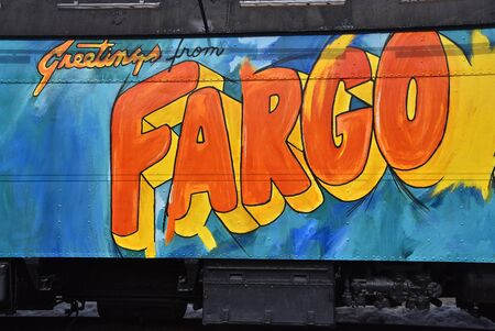 FARGO, NORTH DAKOTA, March 16, 2020:  The old train car with the painting of