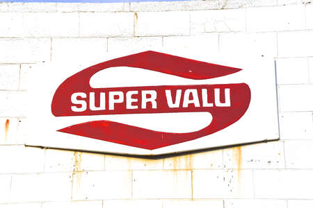 ISABEL, SOUTH DAKOTA, February 28, 2020: The old hand painted sign represents SuperValu, Inc. an American wholesaler and retailer of grocery products.headquartered in the Minneapolis suburb of Eden Prairie, Minnesota,