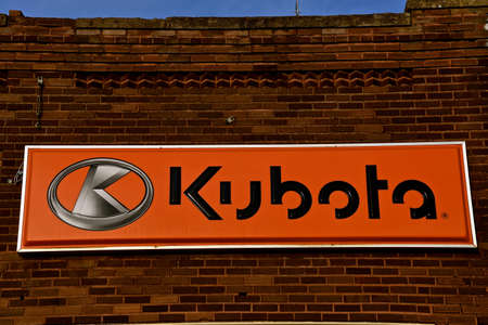 ISABEL, SOUTH DAKOTA, February 28, 2020: The sign on an old brick building represents products of Kubota Corporation, a tractor and heavy equipment manufacturer based in Osaka, Japan, established in 1890.