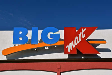 FARGO, NORTH DAKOTA, March 30, 2020: The Big Kmart signs an American big box department store chain  company headquartered in Hoffman Estates, Illinois, and established in 1899.