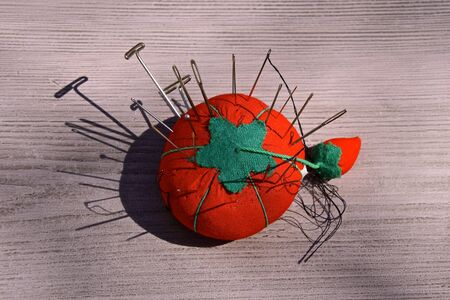 A colorful red cushion with the needles and pins throwing their shadows Banque d'images