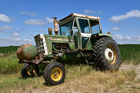 MADISON, SOUTH DAKOTA, August 5, 2020:The retired old tractor 1855 is a product from Oliver Farm Equipment Company which was purchased by White Motor Corporation in 1960.