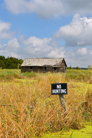 An old wood shed located in a marshy setting is protected by a NO HUNTING sign.